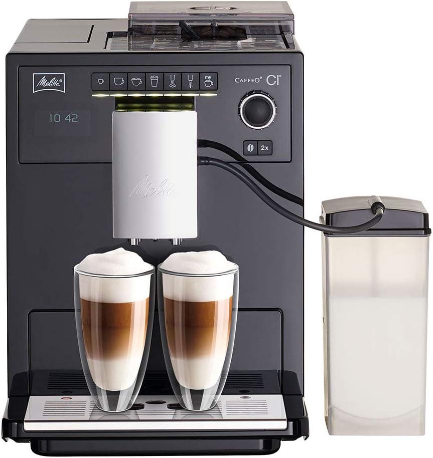 Melitta Caffeo Ci E970-103, Cafetera Molinillo, Café Molido y en Grano, Personalizable, Depósito de Leche, Limpieza Automática, 15 Bares, Negro, 1400 W, 1.8 litros, Plástico