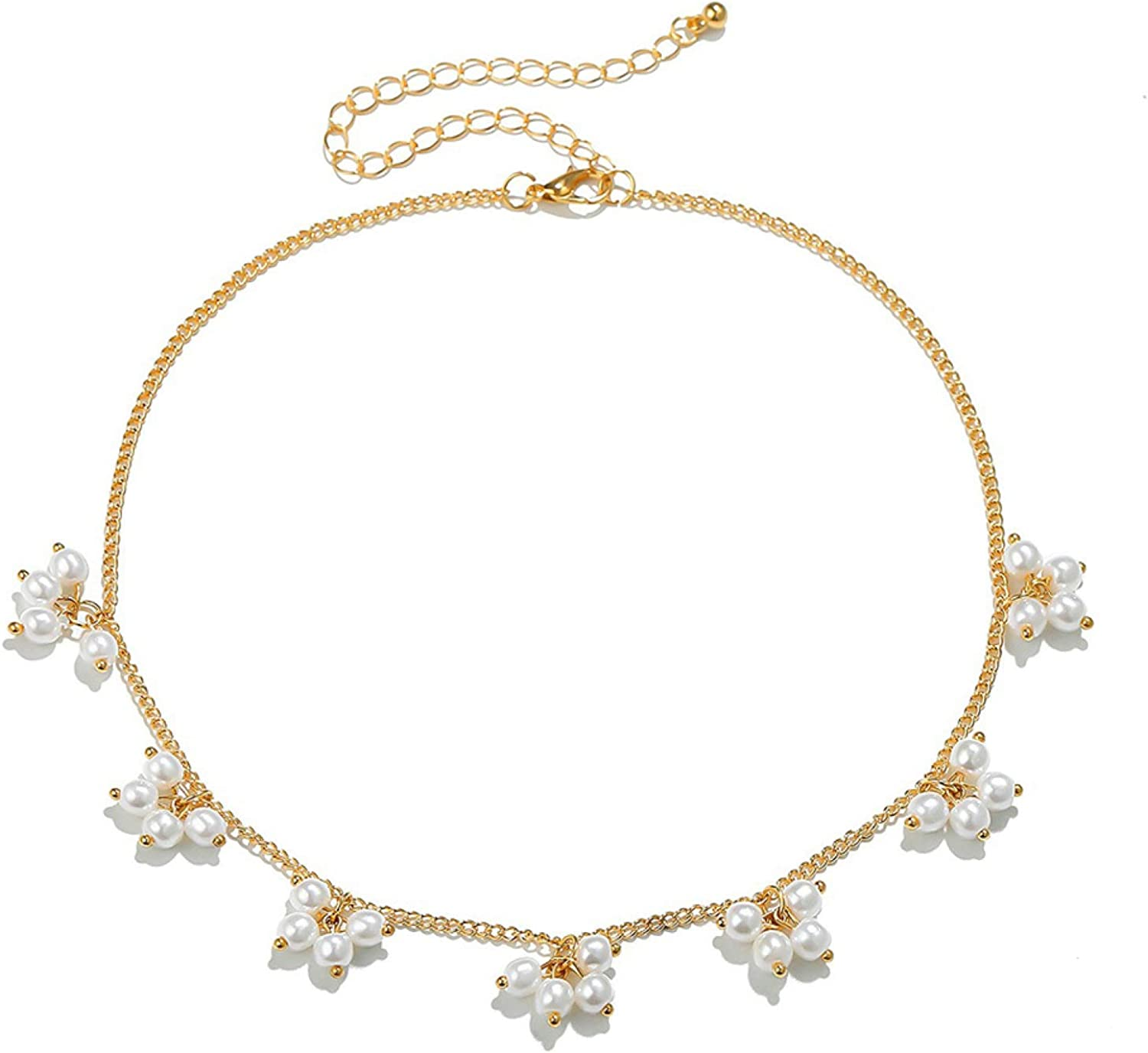 Faux Pearl Flower Charlotte Mall Adjustable Choker Clavicle Jewe Necklace Bargain Chain