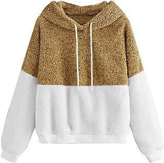 LEKODE Women Sweatshirt Fashion Patchwork Hoodie Long Sleeve Tops