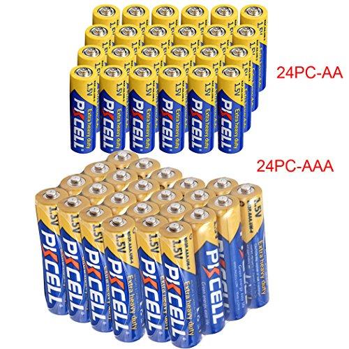 24 Pcs AA + 24 Pcs AAA 1.5V Extra Heavy Duty Batteries (48 Combo Pcs)