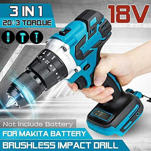 3in1 ブラシレス 電動 ハンマードリル 電動ドライバー 13mm 20 +3 トルク コードレス インパクトドリル マキタ 18Vバッテリー