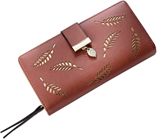 OULII Women Buckle Clutch Wallet Hollow Leaves Long Leather Purse Elegant Clutch Wallet for Card Cash Holding (Coffee)