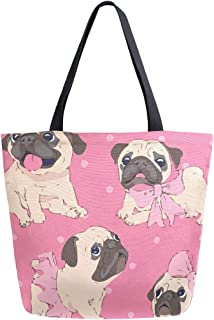 Cute Kawaii Pug Dog Lover Canvas Tote Bags Shopping Reusable Grocery School Bag with Handles