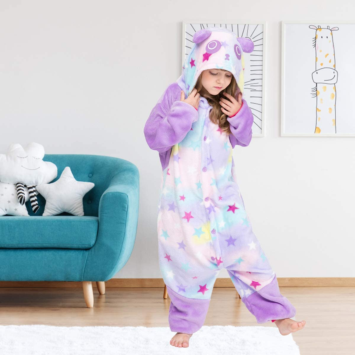 Happy Cherry M/ädchen Schlafanzug Jumpsuit Flanell Onesie Cosplay Cartoon Unisex Netter Panda Druck Pyjamas Party Kost/üm Kleidung f/ür Zuhause