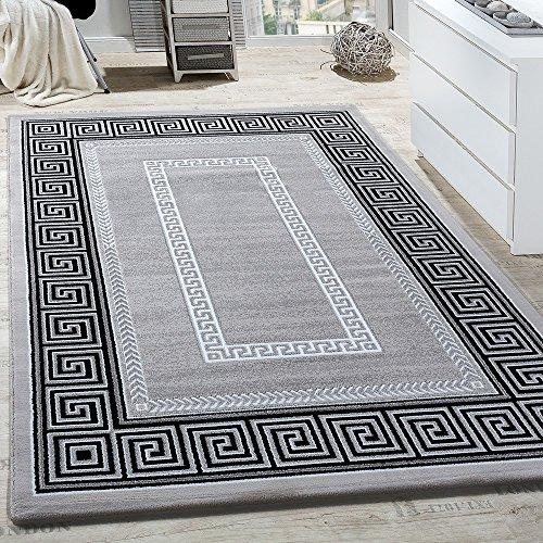 Paco Home Teppich Wohnzimmer Bordüre Ornament Muster Abstrakt Design Meliert Grau, Grösse:120x170 cm