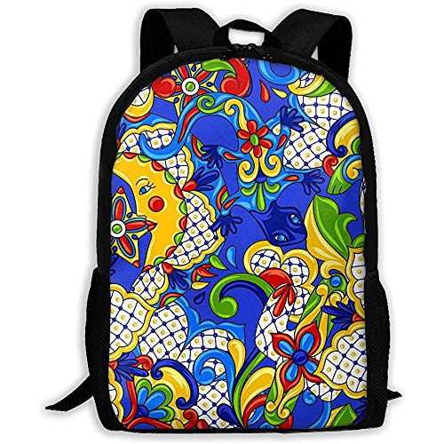 Lmtt Mochila Talavera Mexicana Patrón de baldosas de cerámica Azul Brillante Amarillo Mochila Mochila de Viaje Informal para Adolescentes Niños Niñas