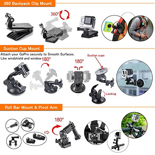 LyStar 51-in-1 Action Camera Accessories Kit Case Outdoor Sports Bundle Set for Gopro Hero 5/4/3 + / 3/2 Black Silver Session HERO + LED SJCAM SJ 7 SJ 6 SJ 5 SJ 4