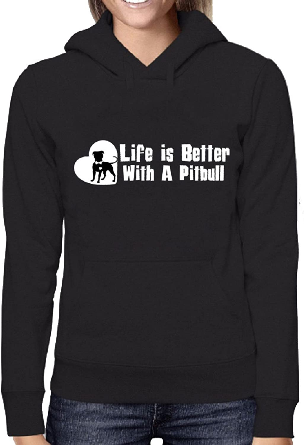 Life is Better with a Pitbull Dog Hoodie Sweatshirt Pit Bull Shirt Hoodie Sweatshirt (Black)