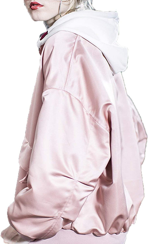 Cheryl Bull Trendy Baseball Satin Short Coat Jacket Ins Super Fire,L,Pink