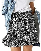 Honeyuppy Women's Summer High Waist Skirt Leopard Floral Print Hem Ruffle Skorts Cute Beach Mini Skirts (S, Black Leopard)