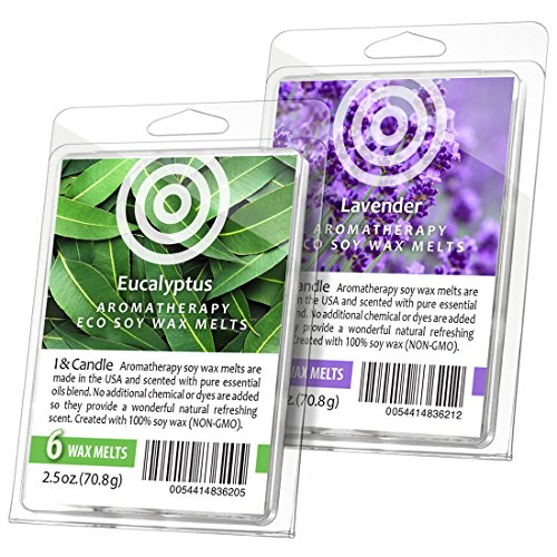 I & Candle (Eucalyptus/Lavender Aromatherapy Wax Melts. 100% Soy Wax Non-GMO (Set of 2)
