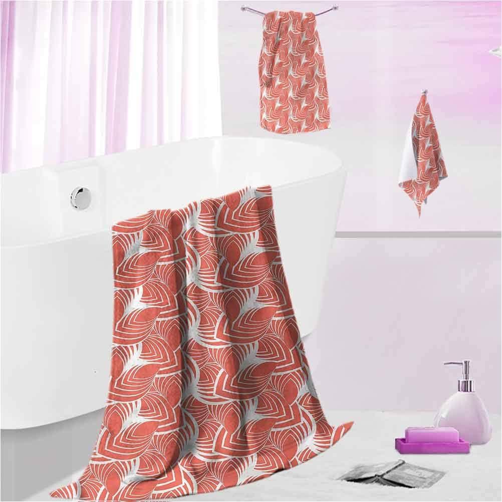 Amazon Com Daydayfun Decorative Bath Towels Set Coral Kids Bath Towel Sets For Boys Vintage Art Deco Pattern L Contain 1 Bath Towel 1 Hand Towel 1 Washcloth Home Kitchen