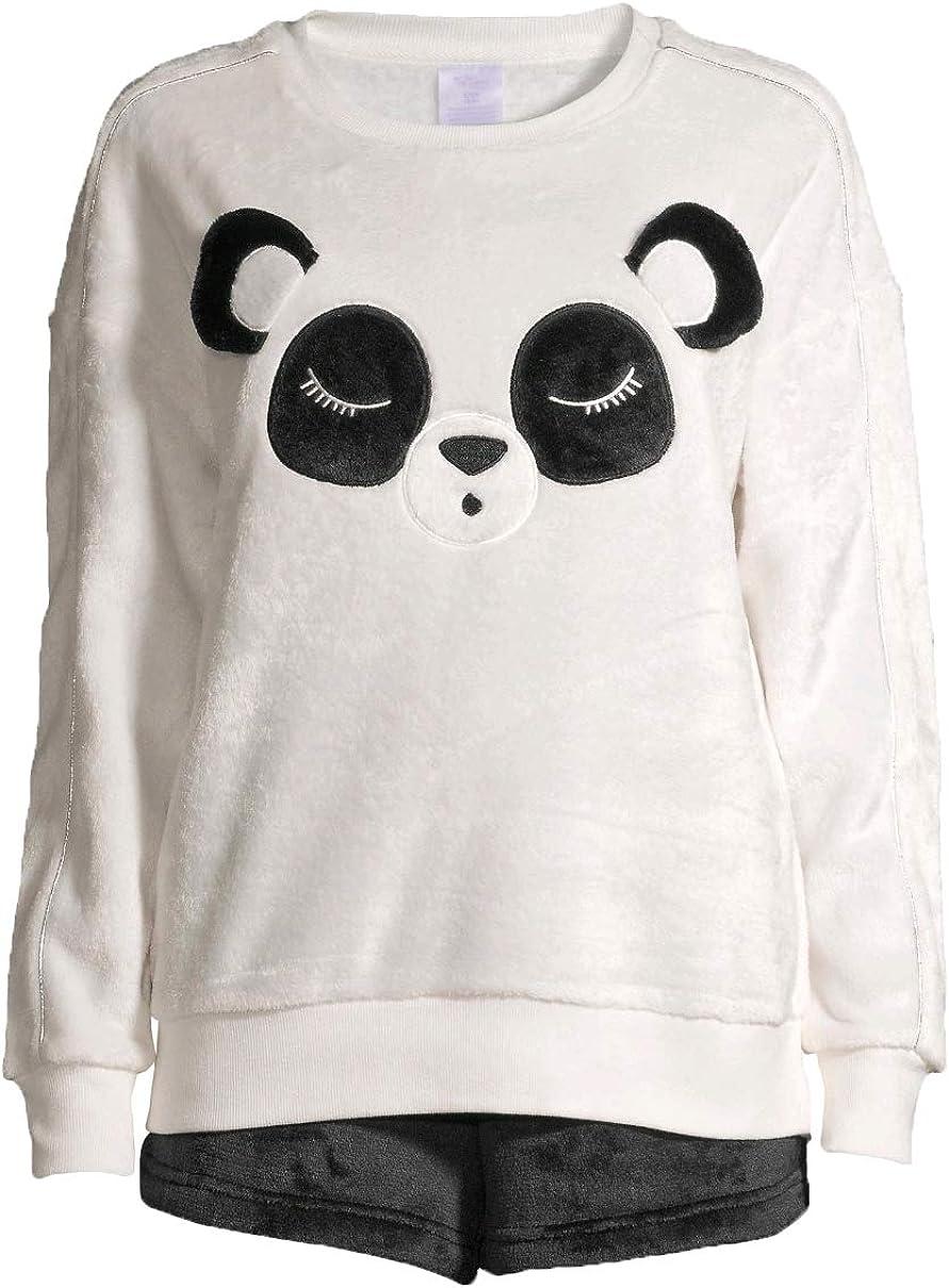 Panda Winter White Plush Top & Boxers Pajama Sleep Set
