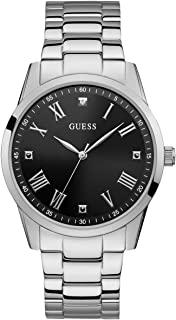 Stainless Steel Bracelet Watch with Black Genuine Diamond Dial + Roman Numerals. Color: Silver-Tone (Model U1194G1)