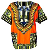 Traditional African Dashiki Cotton Shirt – Tribal Hippie Style- Variety Colors Perfect for Festival- Craft Clothes -Mens, Womens, Unisex (Medium, Orange)