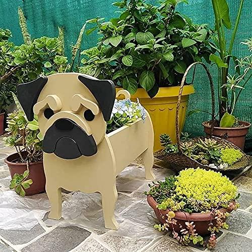 Dog Planters Wooden,Golden Retriever Planter,Pug Planter,French Bulldog Planter,Chihuahua Dog Planter,Animal-Shaped Cartoon Planter Pots,for Indoor Outdoor Gardening Decoration (H)