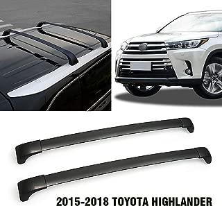 Black Aluminum Roof Rack Cross Bars Fit 2015-2018 Toyota Highlander Top Side Rail Cargo Carries