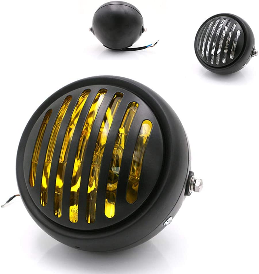 DishyKooker Motorcycle Discount is also underway Headlight Black Fro Metal Challenge the lowest price Retro