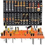 Queta Paroi d'Outils Perforée Porte-Outils compris 2 Panneaux Muraux de Rangement en ABS Extra Solide, 24 Crochets et 1 Boîte à fente pour des pièces - Pour d'Atelier, Garage, Système de Stockage