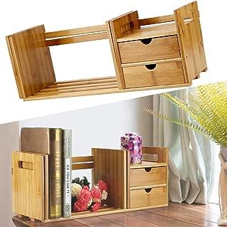 Bamboo Wood Book Rack, Desktop Organizer Office Storage Rack Adjustable Wood Display Shelf, Free Style Extendable Desk Tabletop Book Rack Bookshelves Bookcase Organizer with 2 Drawer, Counter Top
