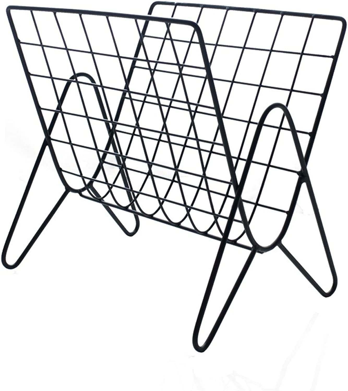 ZHILIAN& Creative Metal Wrought Iron Small Bookshelf Black Simple Household Iron Frame Magazine Rack Decorative Bookshelf