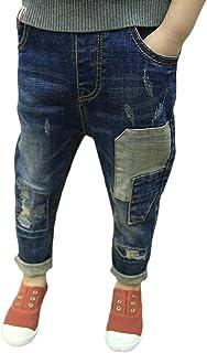 pipigo Boys Comfortably Trousers Jeans Drawstring Cute Denim Pants