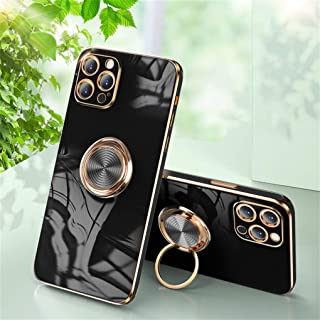 Hadwii iPhone 12 Pro Max hoes telefoonhoes silicone met 360 graden ringstandaard glanzend zachte slanke case bumper stootv...