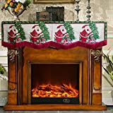 Asunflower Christmas Fireplace Mantle Scarf with Tassel Trim for Holiday Fireplace Decoration, Santa Claus