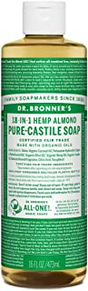 Dr. Bronner's - Pure-Castile Liquid Soap (Almond, 16 ounce) - Made with Organic Oils, 18-in-1 Uses: Face, Body, Hair, Laundry, Pets and Dishes, Concentrated, Vegan, Non-GMO