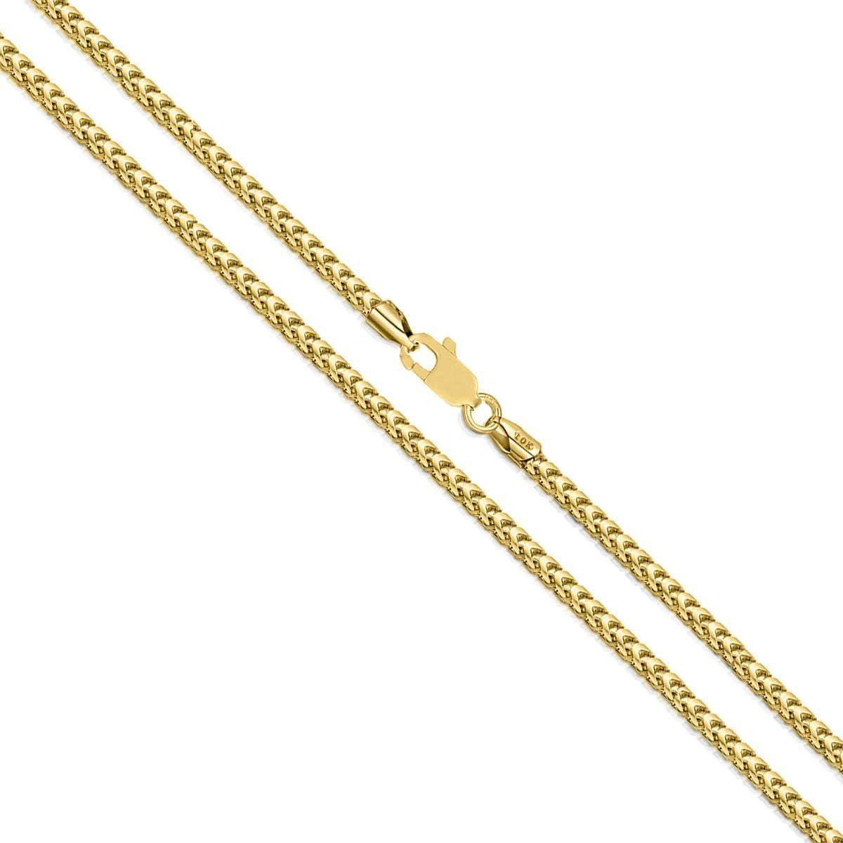Orostar 10K Yellow Gold 1.5MM Diamond Cut Square Franco Chain Necklace, 16