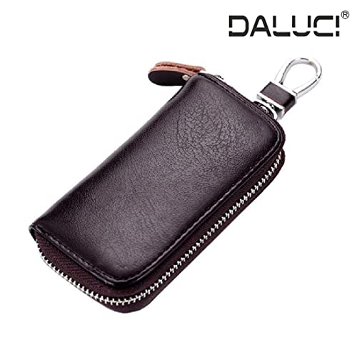 DALUCI Genuine Key Holder Case Leather Keychains Pouch Bag Car Wallet Key Ring (Coffee)