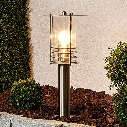 Lindby Außenleuchte 'Miko' (spritzwassergeschützt) (Modern) in Alu aus Edelstahl (1 flammig, E27, A++) - Wegeleuchte, Pollerleuchte, Wegelampe, Sockelleuchte