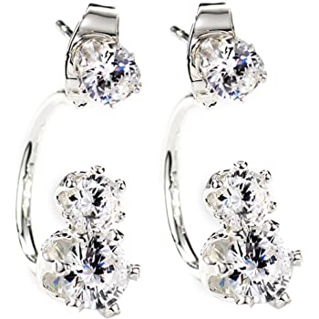 Neoglory Jewelry Silver Color Trio CZ Cubic Zirconia Multiple Three Earrings Sets for Sensitive Ears