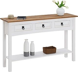 IDIMEX Table Console Campo Table d'appoint rectangulaire en pin Massif Blanc et Brun avec 3 tiroirs et 1 étagère, Meuble ...