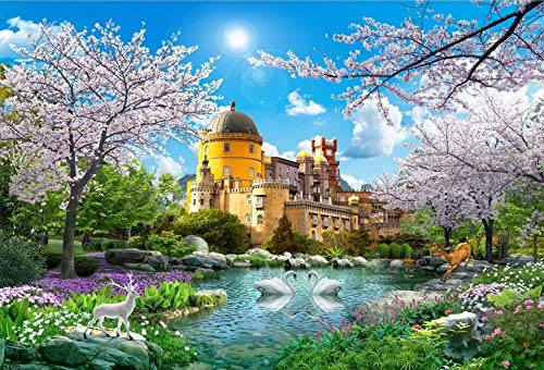 Puzzel 1000 Stukjes, Wonderland Kasteel, Kersenboom, Swan Lake,Brain Challenge Games