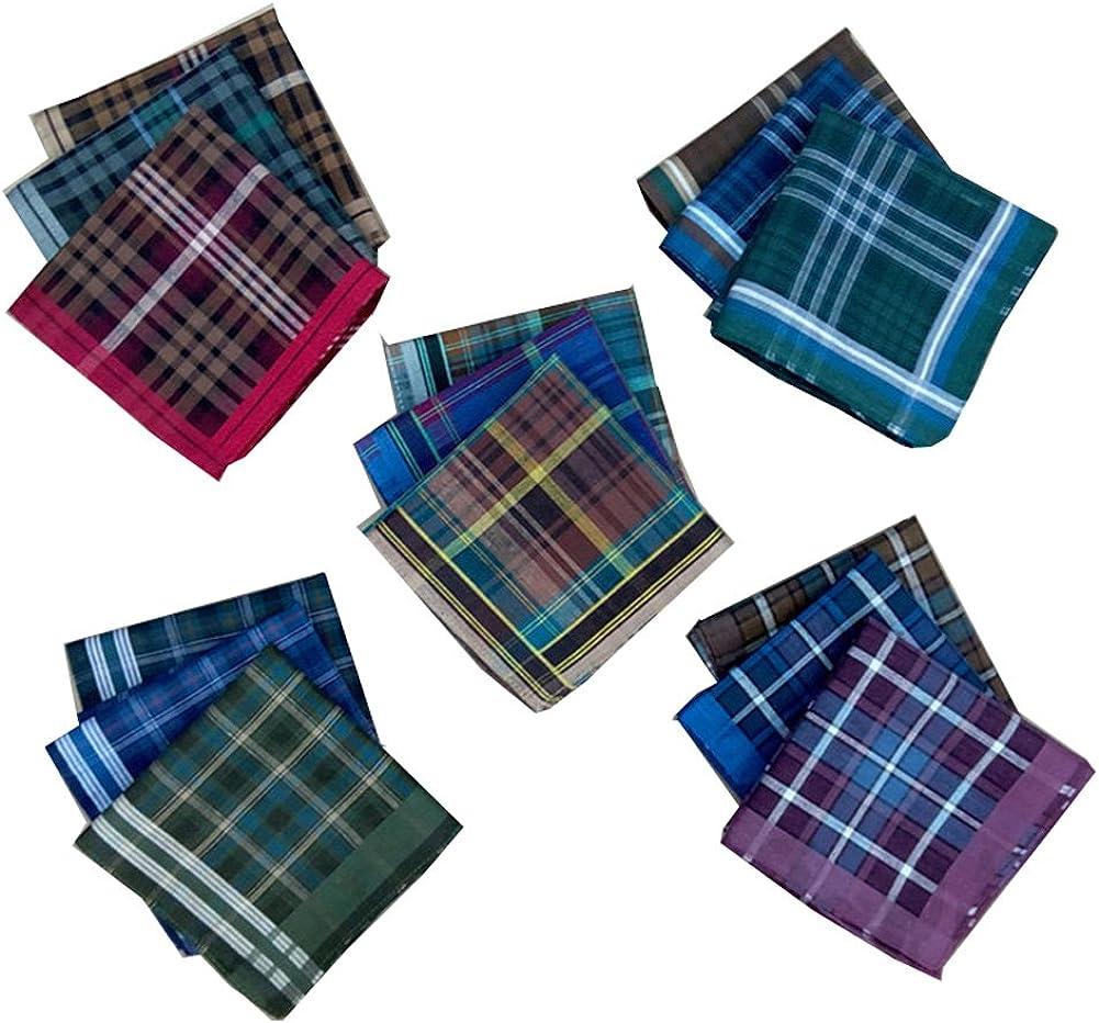 Forlisea Men Plaid FanceCotton Handkerchief Hanky Gift Assorted Set