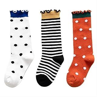 QZHYGE, QZHYGE 3 Pares de Calcetines para niños, niñas, Pilas para bebés, Calcetines Finos, algodón para Mujer, Calcetines de Primavera y otoño