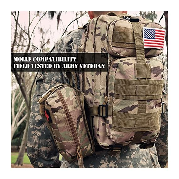 EVERLIT 250 Pieces Survival First Aid Kit IFAK Molle System Compatible Outdoor Gear Emergency Kits Trauma Bag for… 7 ✅【Exclusive 250 PCS First Aid Survival Kit Contained a Military Molle EMT Pouch】Uniquely customized by U.S military veterans, field tested by EX- Army Sergent, designed to get you well-prepared in an emergency situation. The kit combines 241 PCS First Aid Supply with 9 powerful Survival Gear into a Must-Have EDC emergency kit. ✅【Comprehensive First Aid Treatment Exceeds OSHA Guidelines For Single Family】The kit contains more than enough supply to treat a single family or a group of friends under emergency circumstances. Perfect for taking care of any medical or emergency needs during outdoor wilderness adventures such as camping, boy scouts, hiking, hunting and mountain biking, etc. ✅【Molle Compatible, Durable, Portable, and Water-Resistant】The military grade EMT bag was made from 1000D water-resistant nylon, it offers three large compartments and plenty of rooms to add your own gear. The overall dimension of the kit is 8'' x 6.5'' x 5'' and weight only 1.9 lbs. The molle compatible straps on the back allow the user to attach it to other bags or your belt, which made it a perfect companion for any outdoor activities.