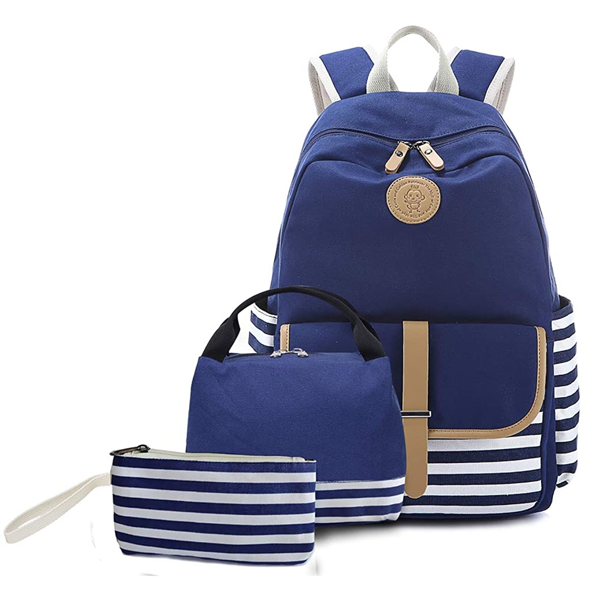 School Backpack for Teen Girls, Createy School Backpack Canvas College Bag Student Bookbag Laptop Backpack Casual Travel Daypack Rucksack with Lunch Bag and Pencil Case
