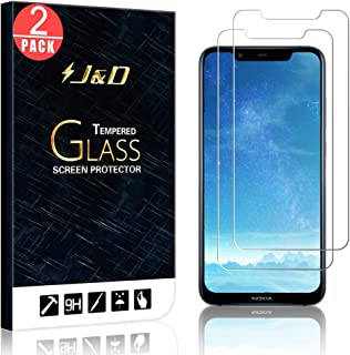 J&D Compatible for 2-Pack Nokia 8.1 Glass Screen Protector, [Tempered Glass] [Not Full Coverage] Ballistic Glass Screen Protector for Nokia 8.1 Screen Protector