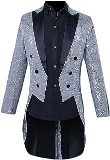 Schoon Mannen Kostuums Revers Pailletten Nightclub Slipjas Tuxedo sportcoat Blazer Jacket Opgeruimd (Color : Silver, Size...