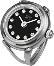 Davis 4173 - Womens Finger Ring Watch Black Dial Swarovski Crystal Rhinestones Sapphire Glass Adjustable