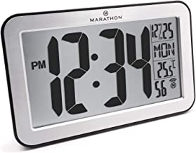 Marathon Commercial Grade Panoramic Atomic Wall Clock with Table Stand - Batteries Included - CL030033SV (Brushed Stainless)