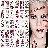 YFT 30 hojasHalloween tatuajes temporales,Tatuajes de Cicatrices de Halloween,Adecuado para Fiestas de Halloween, Juegos de Rol, Accesorios de Maquillaje de Terror.