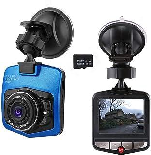 Mini cámara de salpicadero para coche con grabadora de cámara de salpicadero Full HD 1080P con tarjeta SD de 16 GB incluida con sensor G Loop grabación color negro