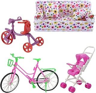 Fully 4er / Sets para Doll 1 X Sofá Sofá con Estampado de Flores Encantador con 2 Cojines + 1 X Carrito de Bebé Infantil Cochecito + 1X Bicicleta + 1 X Bebé Bicicleta
