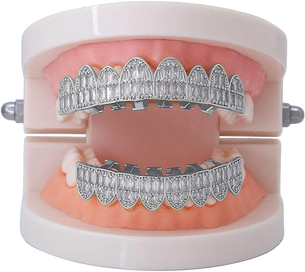 Hip Hop Teeth Accessories micro-set 4A zircon 18k electroplated real gold hip-hop braces