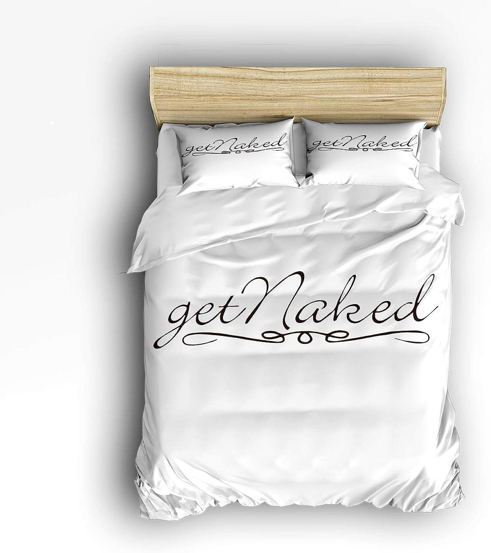 USOPHIA Queen Size 4 Pieces Bed Sheets Set, Get Naked 3D Print Floral Duvet Cover Set