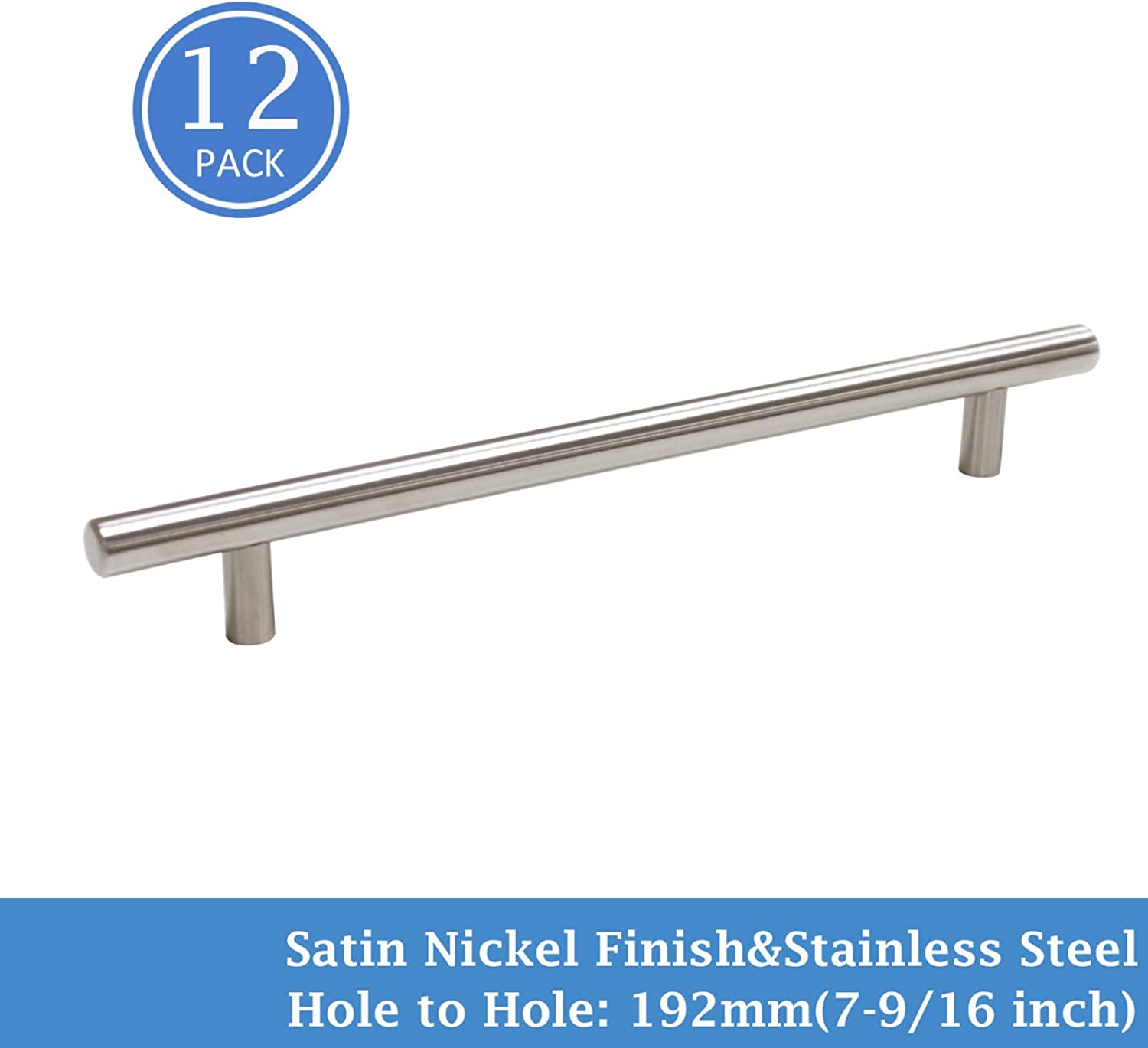 Knobonly 7-9 16  Hole Centers Stainless Steel Modern Cabinet Drawer Handle Pulls Kitchen Cupboard T Bar Knobs and Pull Handles Brushed Nickel -12 Pack