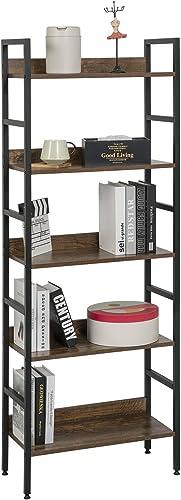 eSituro Bibliothèque Étagère de Rangement Étagère de Cuisine avec 5 Niveaux en métal et Panneau aggloméré 60x27,5x160...